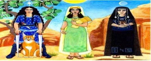"""Ellos fueron: al-Ilah , y sus tres hijas, al-Lat , al-Uzza y Manat al- . La parte superior dios era al-Ilah (el nombre significa simplemente """"dios"""")."""