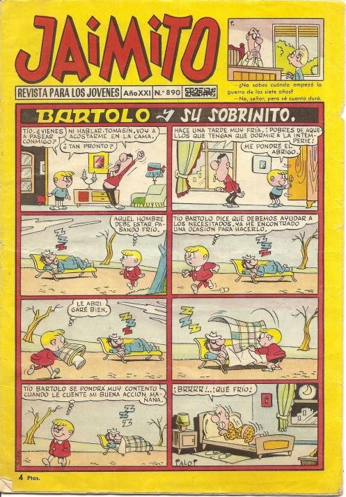 """PORTADA DE UN EJEMPLAR DEL TEBEO """"JAIMITO""""."""