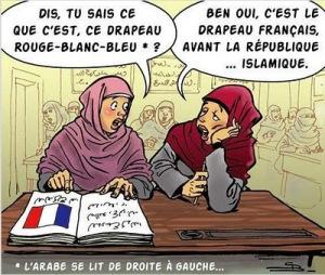 _ ¿Sabes de donde es esta bandera roja, blanca y azul? - Si, es la bandera francesa antes de la República...Islámica