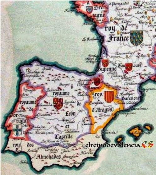 Mapa del mismo año en que los cristianos reconquistaron Ibiza, 1235. SE conserva en la Biblioteca Nacional de París. En él se demuestra que no existía ninguna región ni país conocido por Cataluña. Como ya sabíamos todos quienes hemos estudiado un poco estos temas.