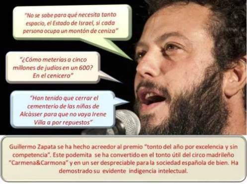 """Guillermo Zapata, podemita y dimisionario del circo madrileño """"Carmena&Carmona"""". La Federación de Comunidades Judías de España (FCJE) ha pedido su cese inmediato."""