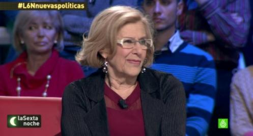 Manuela Carmena, actual alcaldesa de Madrid, así como podemita incontrolada y desconcertada.
