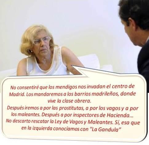 """Manuela Carmena, alcaldesa del Ayuntamiento de Madrid, considerada como """"un peligro público"""" por muchos madrileños."""