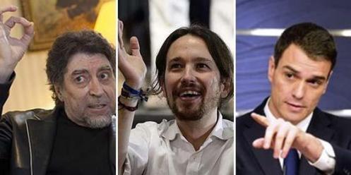 Joaquín Sabina, Pablo Iglesias y Pedro Sánchez.