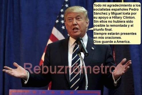 Trump tras felicitar al PSOE y a sus enviados para apoyar a Hillary.