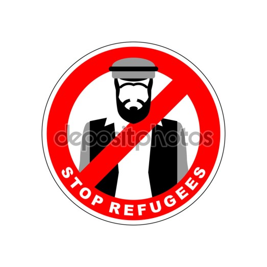 Ban immigrants. Stop refugee. Red Forbidding character. Syrian M